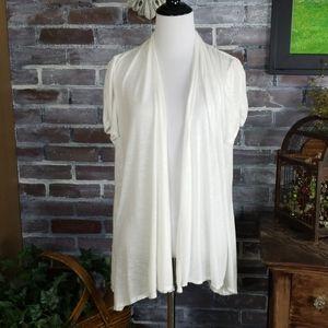 AB Studio White XL Flowy Cardigan